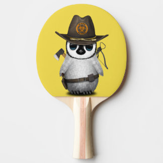 Baby Penguin Zombie Hunter Ping Pong Paddle