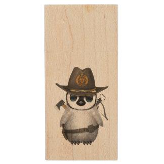 Baby Penguin Zombie Hunter Wood USB Flash Drive