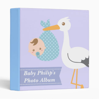 Baby Photo Album - Stork Delivers Cute Baby Boy Vinyl Binders
