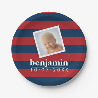 Baby Photo and Birthday Cute Boy Striped Pattern Paper Plate