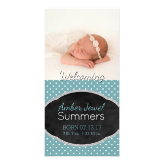 Baby Photo Birth Announcement | Aqua Polka Dots Card