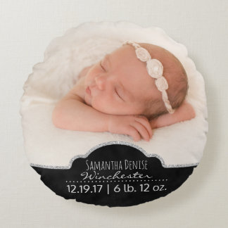 Baby Photo Birth Announcement Keepsake Round Pillow