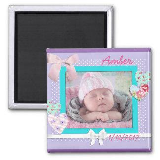 Baby Photo Birthday Announcement Purple and Aqua Square Magnet