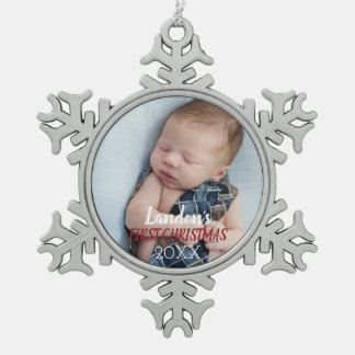 Baby Photo First Christmas Ornament  - Custom Text