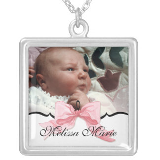 baby photo, name & birth date necklace
