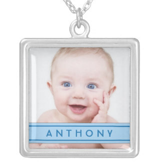 Baby Photo Template with Blue Name Plate Necklace