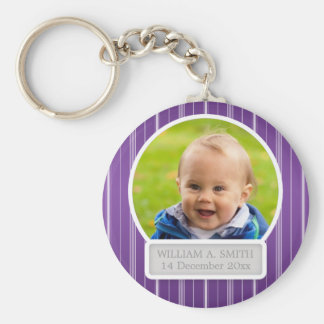 Baby Photo With Name Elegant Stripes Purple Key Chains