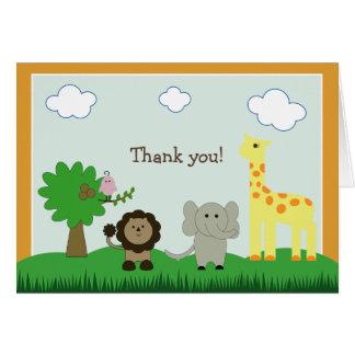 Baby Photo Zoo Animal Thank You Card (orange)