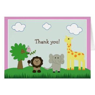Baby Photo Zoo Animal Thank You Card (pink)