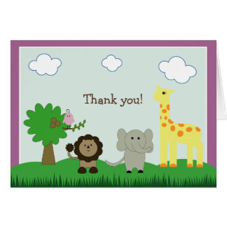 Baby Photo Zoo Animal Thank You Card (purple)