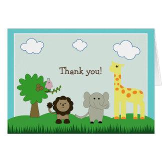 Baby Photo Zoo Animal Thank You Card (teal)