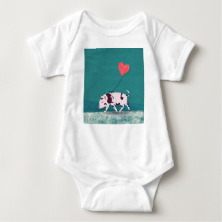 Baby Pig With Heart Balloon Baby Bodysuit