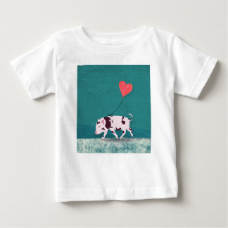 Baby Pig With Heart Balloon Baby T-Shirt