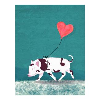 Baby Pig With Heart Balloon Letterhead