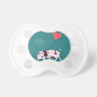 Baby Pig With Heart Balloon Pacifier