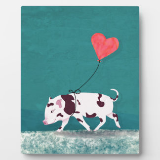 Baby Pig With Heart Balloon Plaque