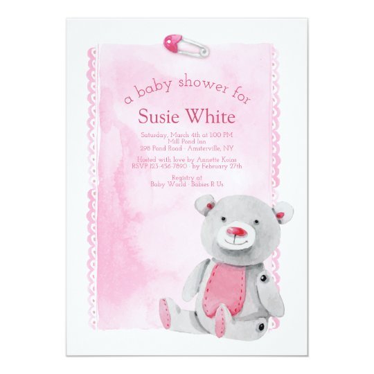 Baby Pin Bear Shower Invitation