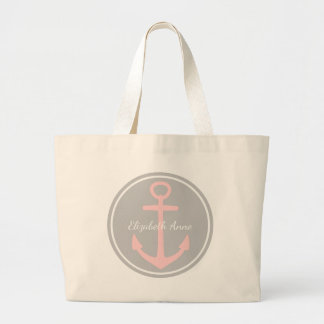 Baby Pink Anchor on Ash Grey Personalized Diaper Large Tote Bag