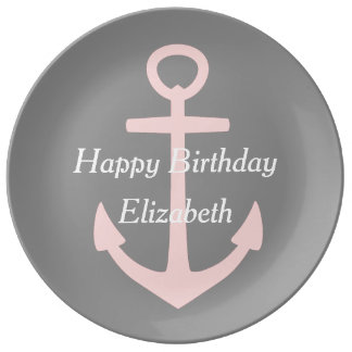 Baby Pink Anchor on Dove Grey Happy Birthday Plate