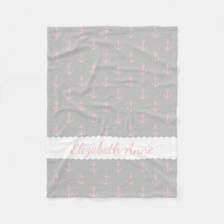 Baby Pink Anchors on Ash Grey Personalized Fleece Blanket