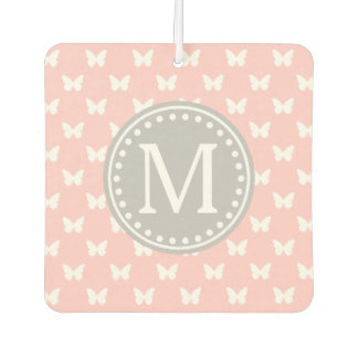 Baby Pink and Ash Grey Butterfly Monogram Air Freshener