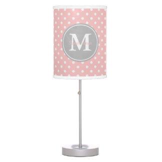Baby Pink and Ash Grey Polka Dot Monogram Table Lamp