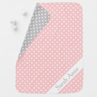 Baby Pink and Ash Grey Polka Dot Reversible Baby Blanket