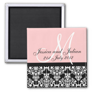 Baby Pink and Black Save The Date Damask Trelli... Magnet