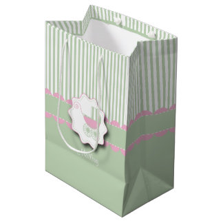 Baby Pink and Green Buggy - Baby Girl Shower Medium Gift Bag