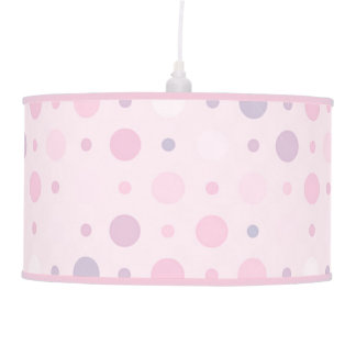 Baby Pink and Purple Polka dots Pattern Pendant Lamp
