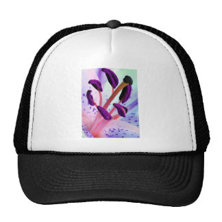 Baby Pink and Purple Tiger Lily Flower Trucker Hat