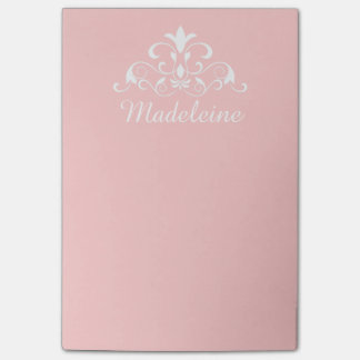 Baby Pink and White Personalized Post-it Notes