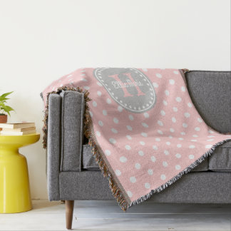 Baby Pink and White Polka Dot Monogram Throw Blanket