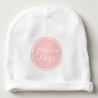 Baby Pink and White Polka Dot Personalized Baby Beanie