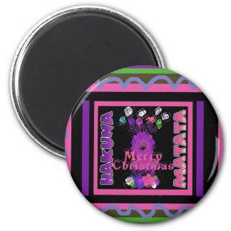 Baby pink Beautiful Merry Christmas Hakuna Matata 2 Inch Round Magnet