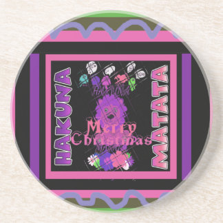 Baby pink Beautiful Merry Christmas Hakuna Matata Drink Coaster