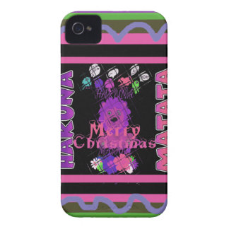 Baby pink Beautiful Merry Christmas Hakuna Matata iPhone 4 Case