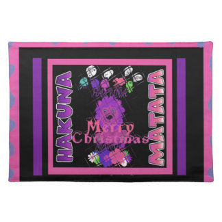 Baby pink Beautiful Merry Christmas Hakuna Matata Placemat
