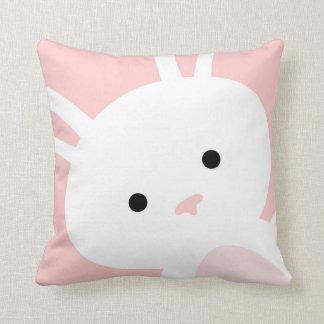 Baby Pink Bunny Nursery Throw Pillow