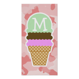 Baby Pink Camo; Ice Cream Cone Poster