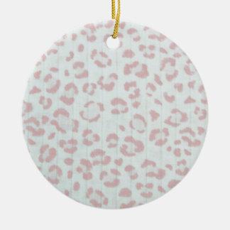 baby pink cheetah animal jungle print ceramic ornament