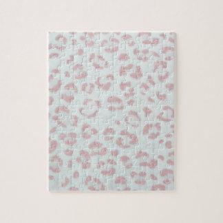 baby pink cheetah animal jungle print jigsaw puzzle