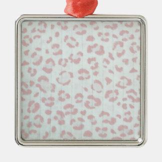 baby pink cheetah animal jungle print metal ornament