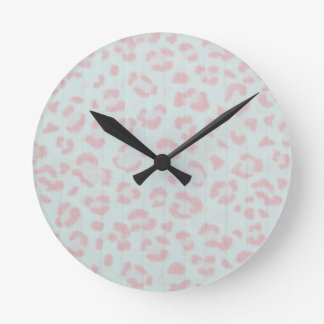 baby pink cheetah animal jungle print round clock