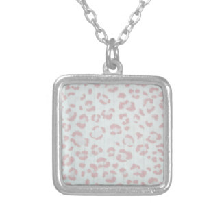 baby pink cheetah animal jungle print silver plated necklace