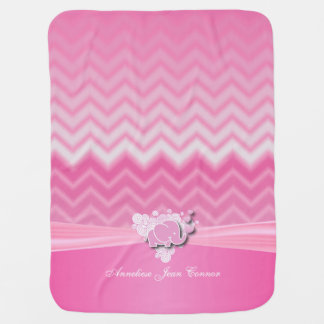 Baby Pink Chervon Designs with Baby Elephant Baby Blanket