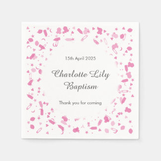 Baby Pink Confetti Baptism Christening Disposable Napkin