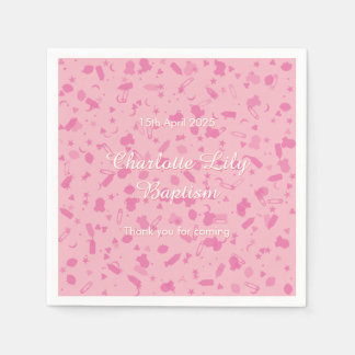 Baby Pink Confetti Baptism Christening Disposable Napkins