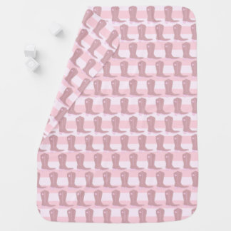 Baby Pink Cowgirl Cowboy Boot Blanket Swaddle Blanket