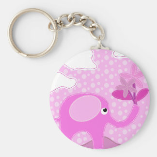 Baby Pink Elephant and Flowers Keychain